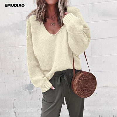 Casual Knitted Sweater Women Streetwear V Neck Long Sleeve Pullovers Loose Solid Coat Autumn Winter Fashion Women's Sweater