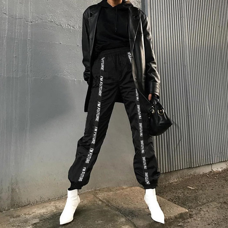 HOUZHOU Harem Pants Trousers Women Full Length Loose Jogger Mujer Sporting Elastic Waist Black Casual Combat Streetwear Fashion