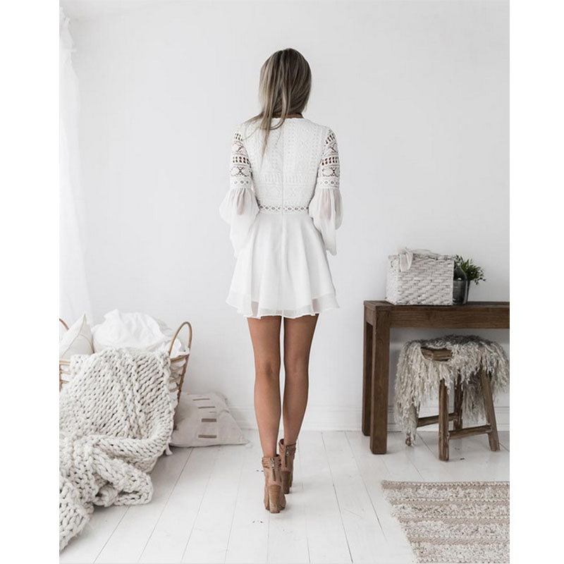 new Girls White Summer Bohemian Mini Dress Women Fashion Spring Solid White Mini Lace Casual Clothes V-neck Long Sleeve Dresses