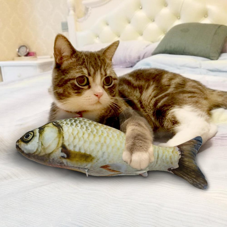 Cat Toy 3D Fish-Shaped Pillow