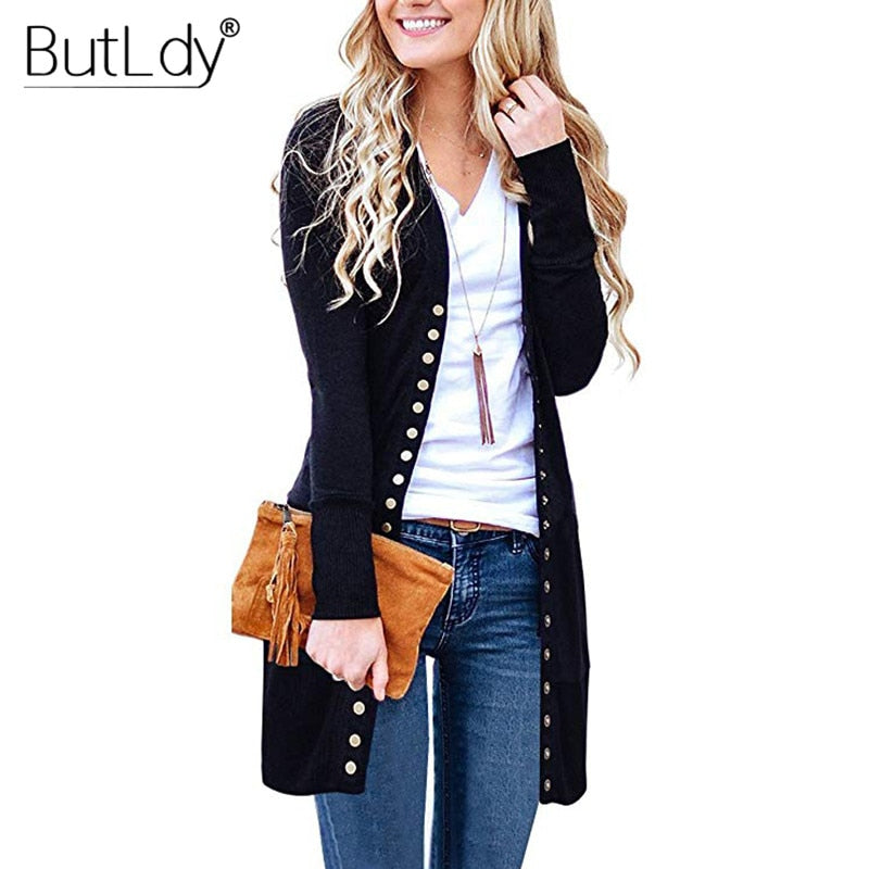 Long Sweater Women Buttons Knitted Cardigan Long Sleeve Ribbed Neckline Knitwear Coat Autumn Winter Fashion Jumpers Ladies