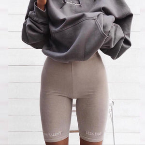 Summer biker shorts High waist shorts women elastic waist skinny fitness korean casual sexy short Letter print black shorts