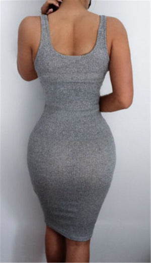 women Package Hip Dress Bandage Bodycon Mini Dress High Waist Slim Solid Gray Casual Dress