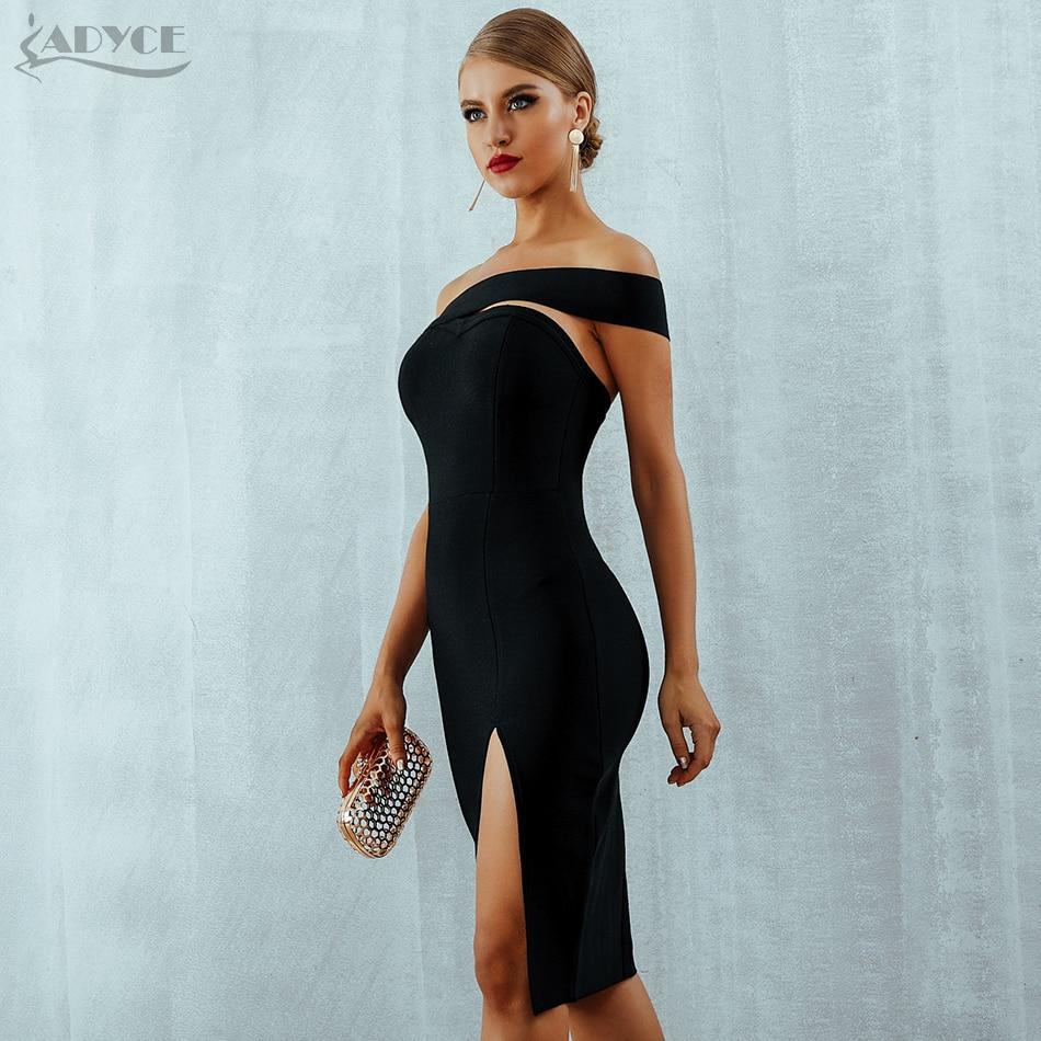 Adyce White Bodycon Bandage Dress Women Vestidos Summer Sexy Elegant Black One Shoulder Midi Celebrity Runway Party Dresses - Redbovi.com