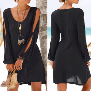 KANCOOLD dress Fashion Women Casual O-Neck Hollow Out Sleeve Straight Dress Solid Beach Style Mini dress women
