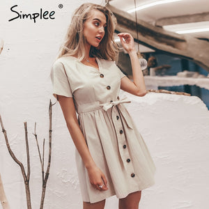 Simplee Vintage button women dress shirt V neck short sleeve cotton linen short summer dresses Casual korean vestidos 2019 festa