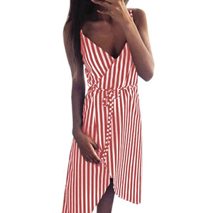 KANCOOLD dress Women Stripe Printing Sleeveless Off Shoulder Dress Evening Party Vest Empire Sashes dress women