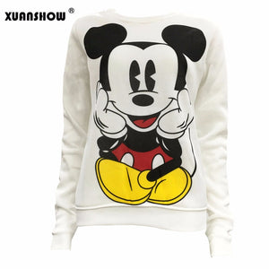 XUANSHOW 2019 Women Sweatshirts Hoodies Character Printed Casual Pullover Cute Jumpers Top Long Sleeve O-Neck Fleece Tops S-XXL