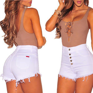 Hot Summer Women Casual High Waisted Short Mini Button Short Pants Black White Sexy Shorts
