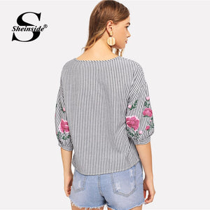 Sheinside Striped Flower Print Casual Top Womens Tops And Blouses Women Half Sleeve Black and White Elegant Blouse