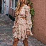TWOTWINSTYLE Sexy Print Dress Female Chiffon V Neck Hollow Out Lantern Sleeve High Waist Mini Dresses Summer Fashion Sweet New