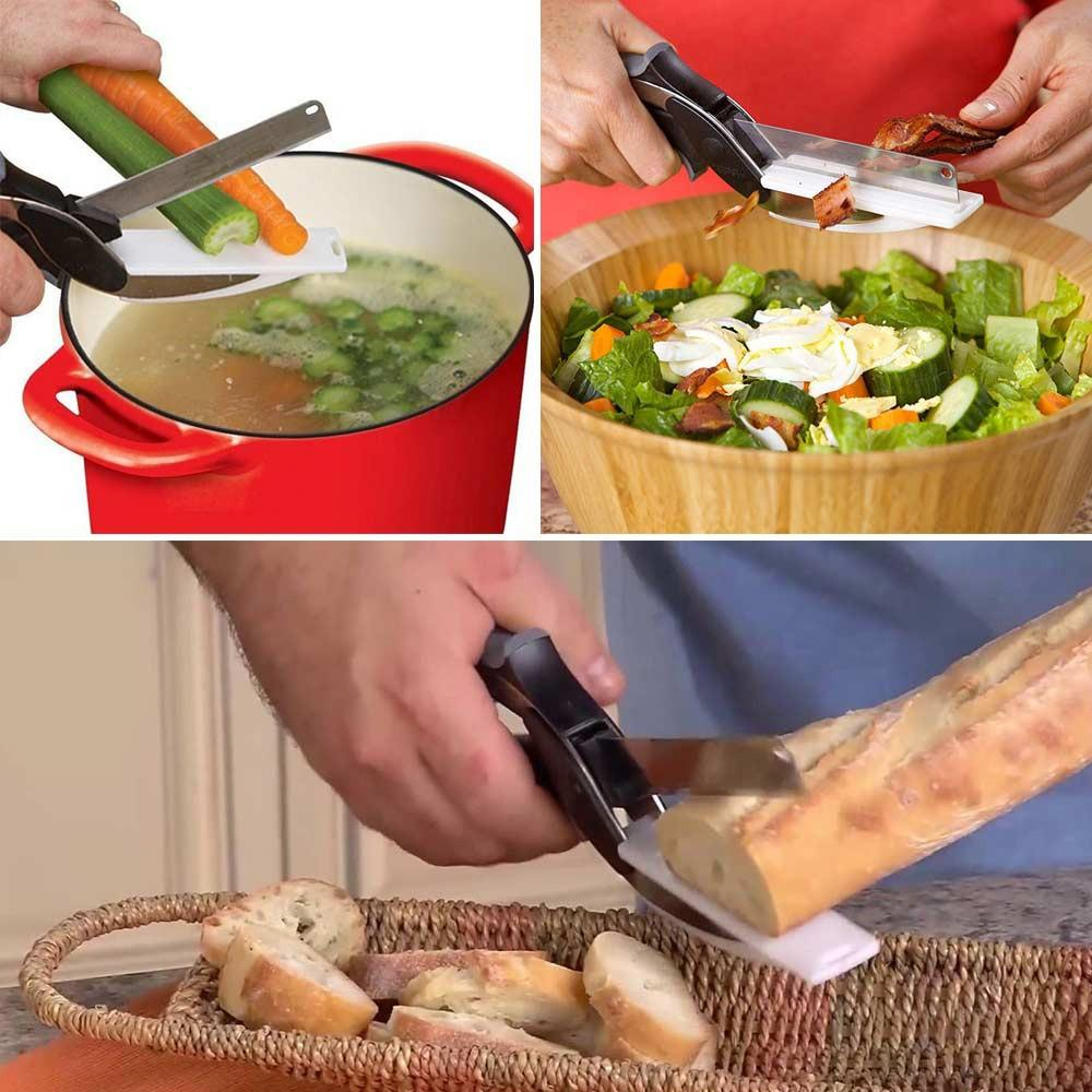 Clever Cutter 2 In 1 Cutting Board And Knife Scissors - Redbovi.com