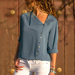 Leisure Blouse Fashion Long Sleeve Women Blouses and Tops Skew Collar Solid Office Shirt Casual Tops Blusas Chemise Femme