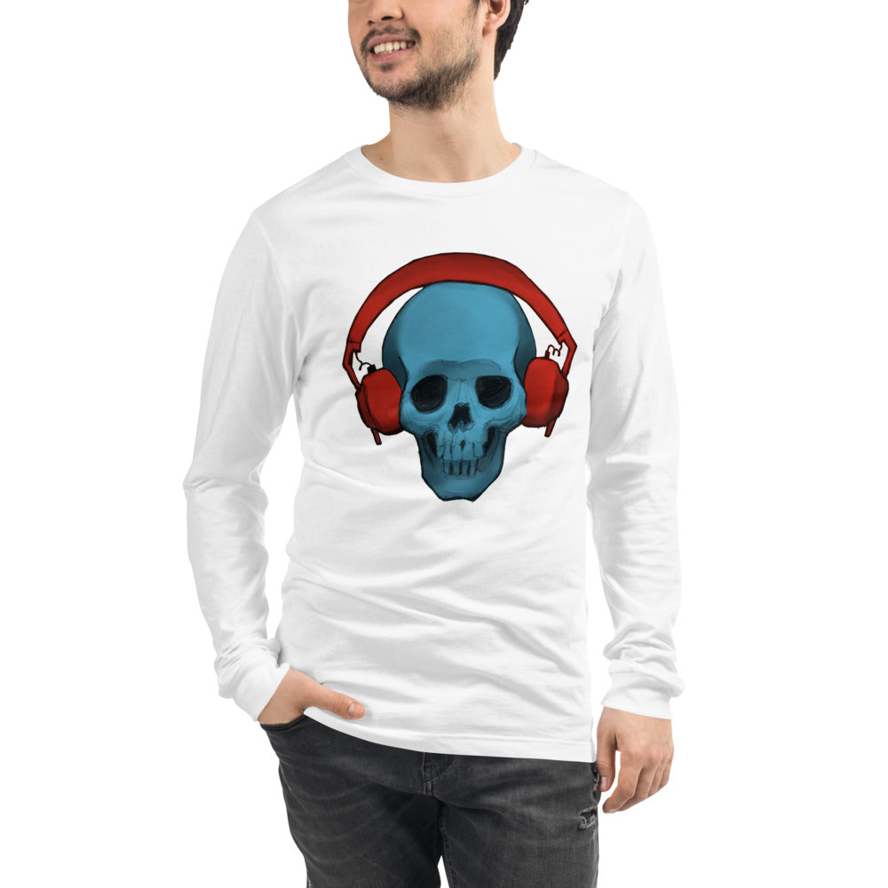 Blue Skull With Red Headphones