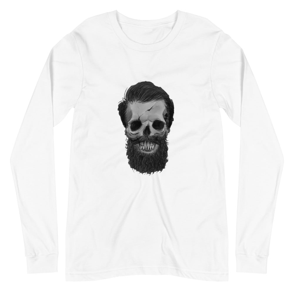 Hipster skull with beard ( Unisex Long Sleeve Tee )