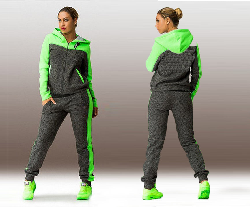 Women Sport Running Set Hoodies Zippers 2 Piece Sets Gym Sets - BHsportswear.com