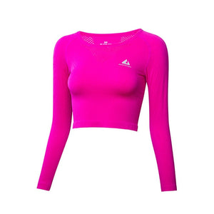 Crop Top Round Collar Long Sleeve Sports Shirt Women - BHsportswear.com