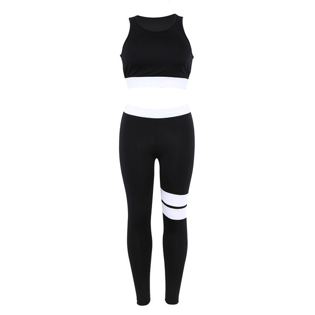 Women Tracksuit Solid Yoga Set Patchwork Running Fitness Jogging T-shirt Leggings Sports Suit Gym Sportswear Workout Clothes S-L - BHsportswear.com