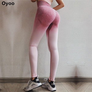 Oyoo Women's High Waist Pink Yoga Pants Tummy Control Workout Running 4 Way Stretch Sport Leggings Ombre Seamless Gym Leggings - BHsportswear.com
