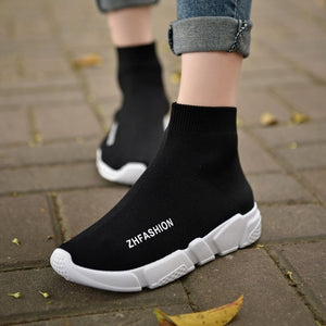 Light High Top New Breathable Flying Socks Shoes Women Sports Elastic Socks Sneakers Woman Ladies Flat Running Walking Shoes - BHsportswear.com
