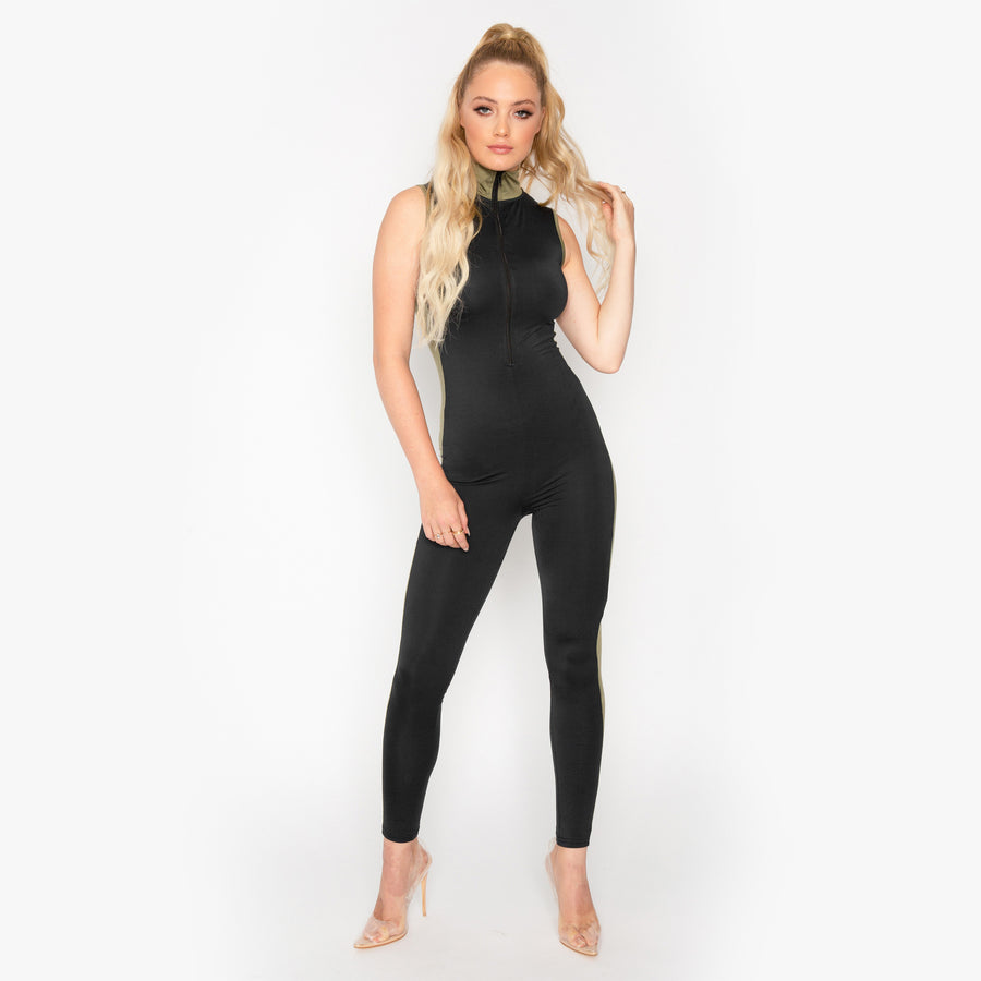 Khaki Panel Jumpsuit