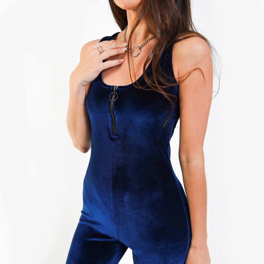 Blue Velour Jumpsuit