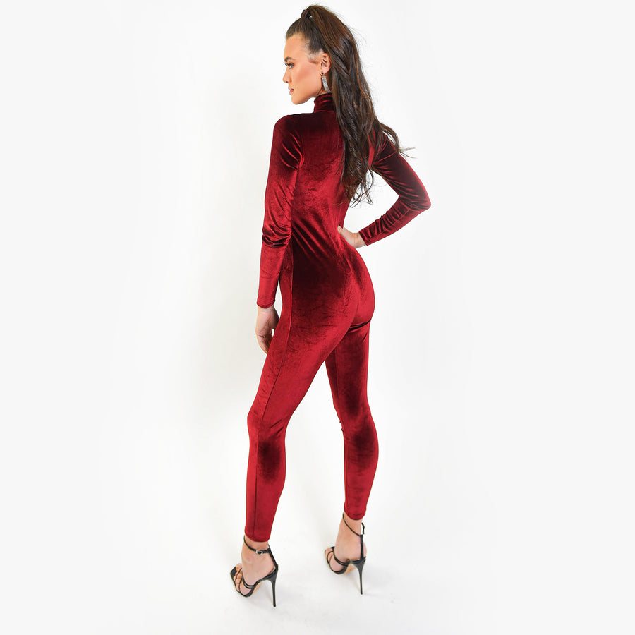 Wine Velour Jumpsuit
