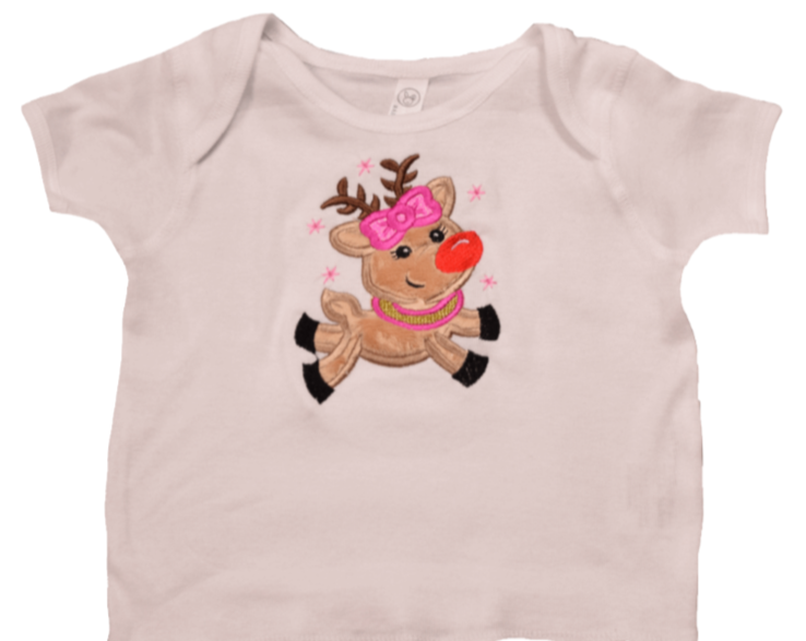 Christmas Girl Reindeer Toddler tee