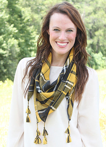 Mad Plaid-er Scarf - Black/Gold