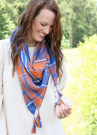 Mad Plaid-er Scarf - Royal/Orange