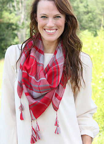 Mad Plaid-er Scarf - Crimson/Gray