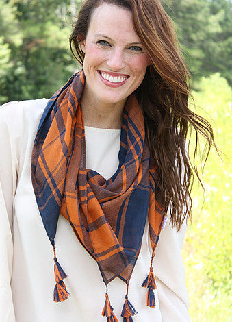 Mad Plaid-er Scarf - Orange/Navy