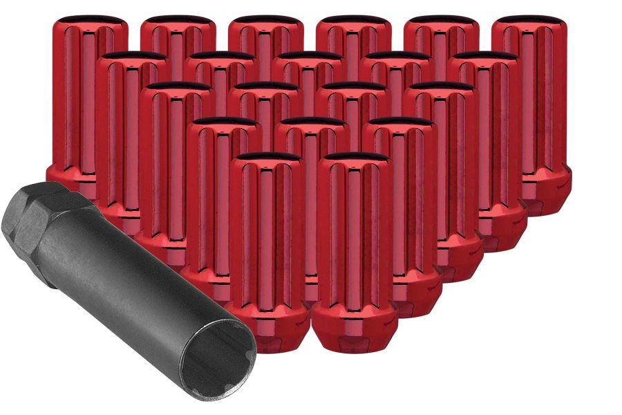 Large Red Tuner Lug Nuts with Key.