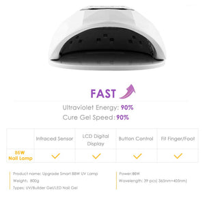 86W UV LED Lamp Nail Dryer With Sensor Timer LCD Display