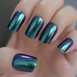 Holographic Rainbow Glitter Fake Nails  with Glue Stickers