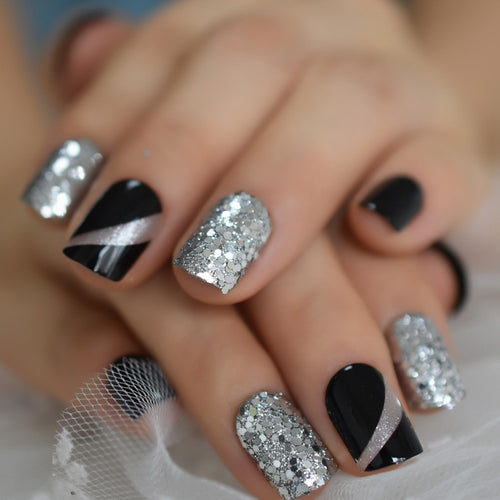 Rough Silver Glitter Faux Ongles Short Black Nails