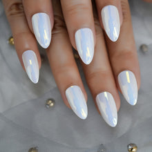 Load image into Gallery viewer, Unicorn Chrome Almond Fake Nails with Glue Tabs