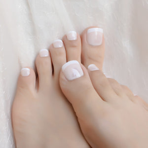 Beige White Fench Nail for Toes