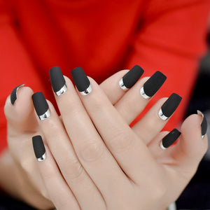 French Moo Matte Square Fake Nails