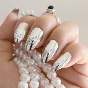 STILETTO Mirror Silver  Metallic Acrylic Nail Tips