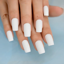 Load image into Gallery viewer, White Matt Square Acrylic Nail Tips