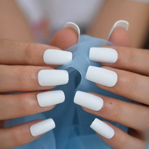 White Matt Square Acrylic Nail Tips