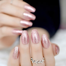 Load image into Gallery viewer, Rose Gold Glitter Ballerina Acrylic Nail Tips