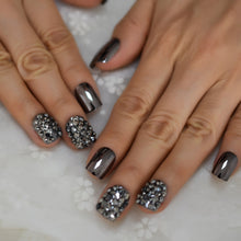Load image into Gallery viewer, Crystal Decorated Metallic Nail Art Tips