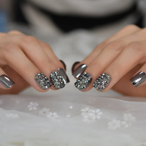 Crystal Decorated Metallic Nail Art Tips
