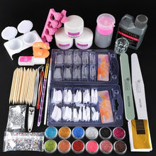 Load image into Gallery viewer, Full Nail Manicure Set Pro Acrylic Kit With Drill Machine Acrylic Liquid Nail Glue Glitter Powder Nail Tips Nail Art Tool Kit