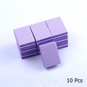 Colorful 10/25/50pcs lot Double-sided Mini Nail File Blocks Sponge Nail Polish Sanding Buffer