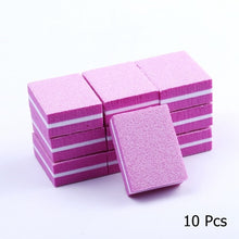 Load image into Gallery viewer, Colorful 10/25/50pcs lot Double-sided Mini Nail File Blocks Sponge Nail Polish Sanding Buffer