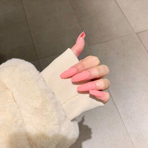 Pink Press on Fake Nails Square Head