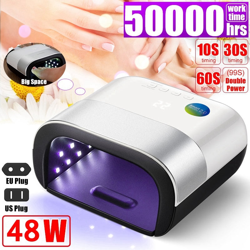 NEW UV Lamp Painless Nail Dryer 48W LED Lamp Nail with Smart Timer Memory Digital Timer Display Nail Drying Machine